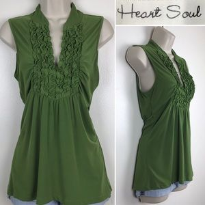 Sleeveless Hunter Green Ruffle V-Neck Top